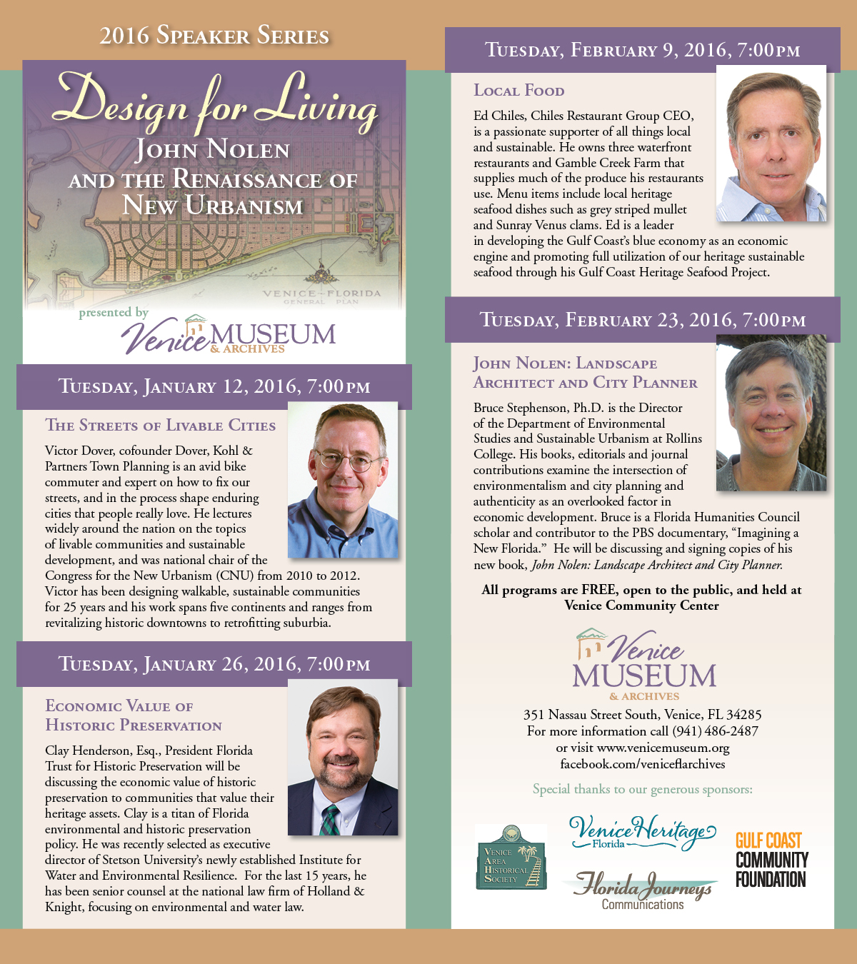 informational flyer about the Design for Living speaker series